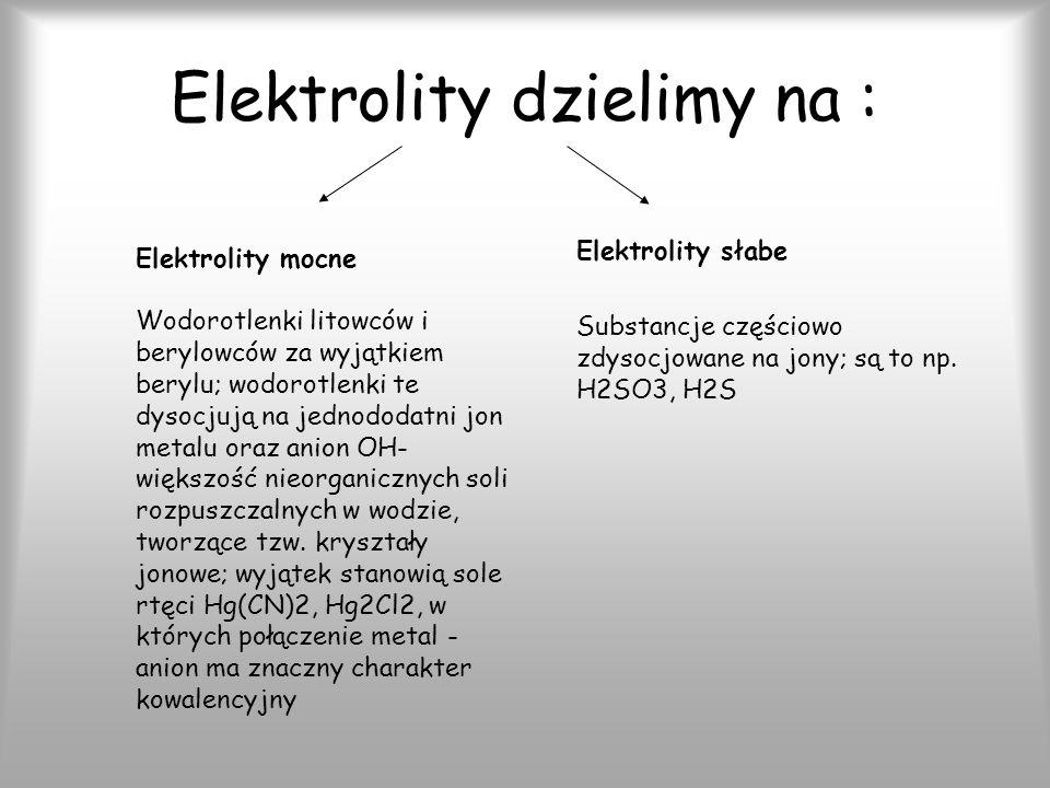 Elektrolity dzielimy na :