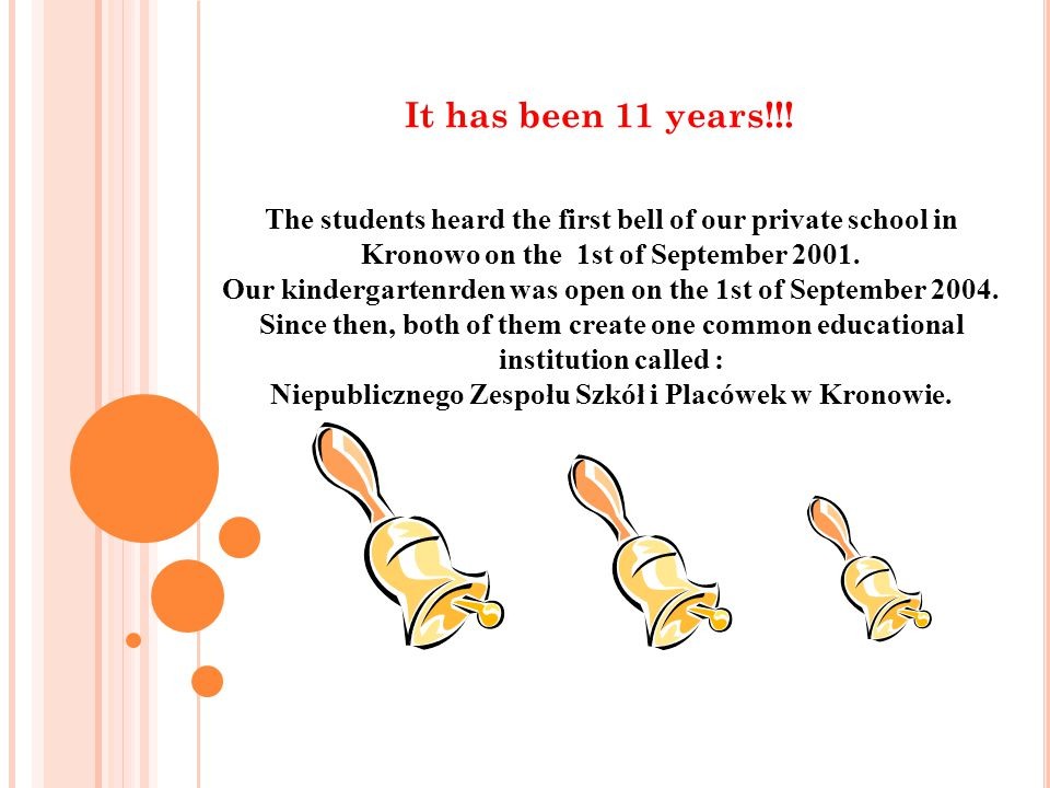 It has been 11 years!!! The students heard the first bell of our private school in Kronowo on the 1st of September 2001.