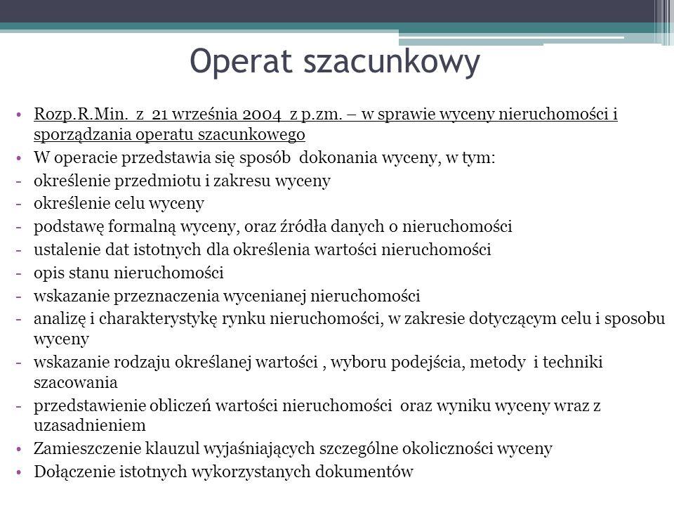 Operat szacunkowy Rozp.R.Min. z 21 września 2004 z p.zm. – w sprawie wyceny nieruchomości i sporządzania operatu szacunkowego.