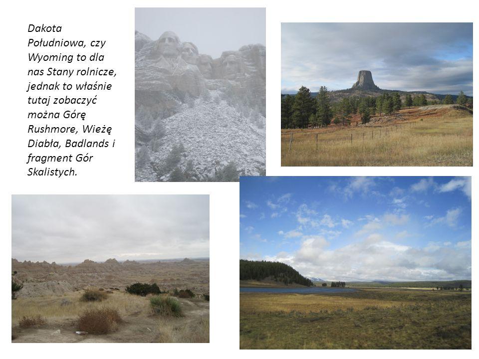 Dakota Południowa, czy Wyoming to dla nas Stany rolnicze, jednak to właśnie tutaj zobaczyć można Górę Rushmore, Wieżę Diabła, Badlands i fragment Gór Skalistych.