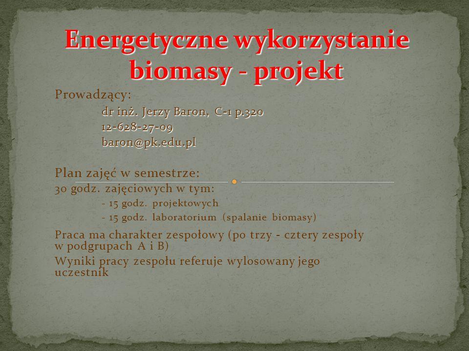 Energetyczne wykorzystanie biomasy - projekt