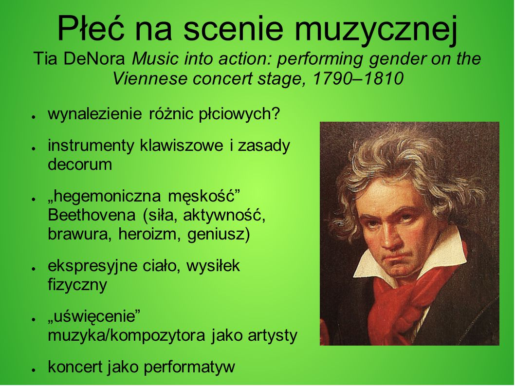 Płeć na scenie muzycznej Tia DeNora Music into action: performing gender on the Viennese concert stage, 1790–1810