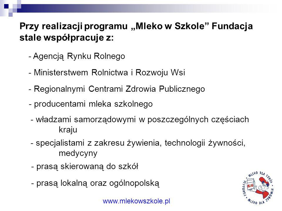 """Przy realizacji programu """"Mleko w Szkole Fundacja stale współpracuje z:"""