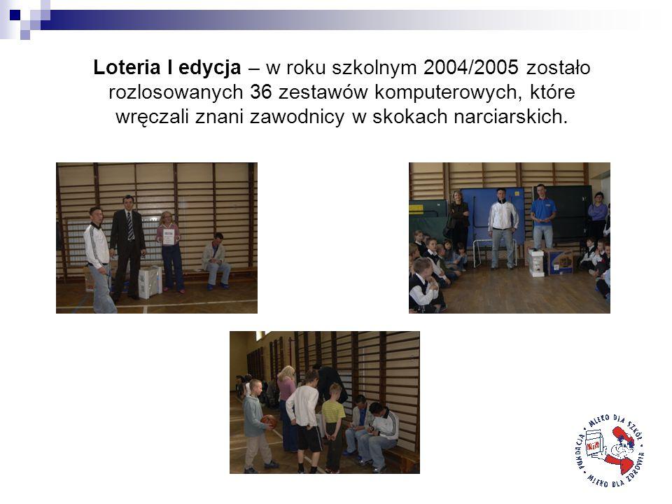 Loteria I edycja – w roku szkolnym 2004/2005 zostało rozlosowanych 36 zestawów komputerowych, które wręczali znani zawodnicy w skokach narciarskich.