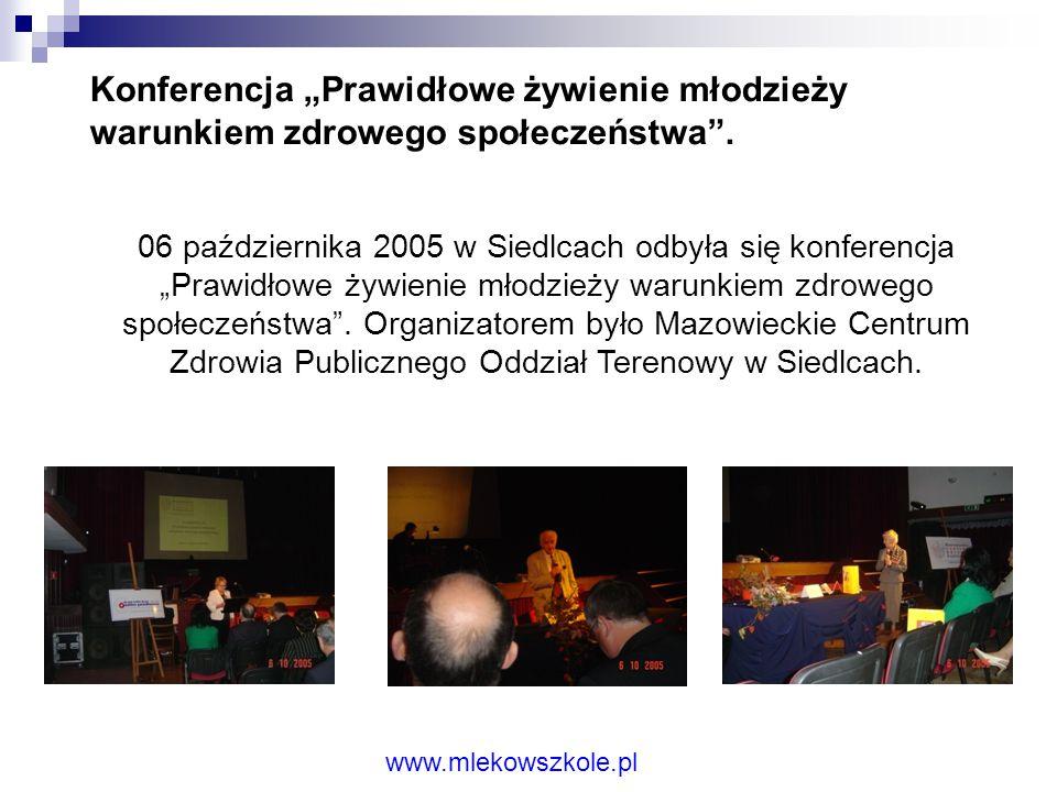 """Konferencja """"Prawidłowe żywienie młodzieży warunkiem zdrowego społeczeństwa ."""