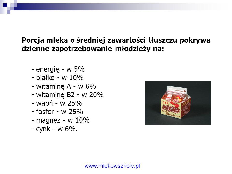 Porcja mleka o średniej zawartości tłuszczu pokrywa dzienne zapotrzebowanie młodzieży na: