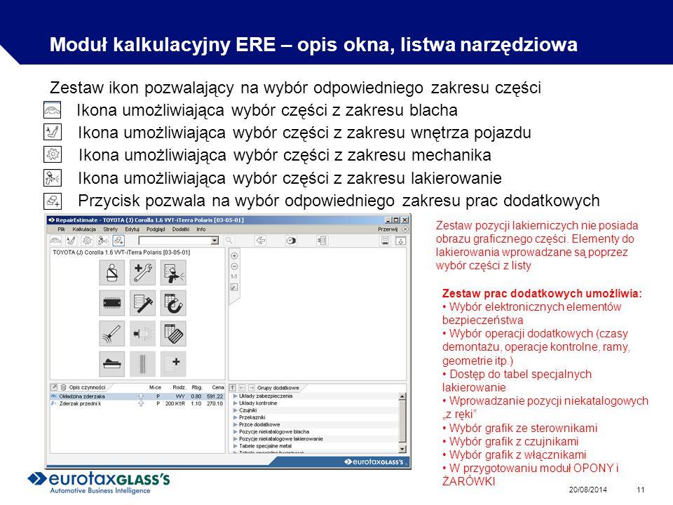 Moduł kalkulacyjny ERE – opis okna, listwa narzędziowa