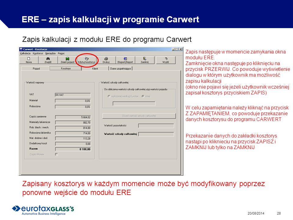 ERE – zapis kalkulacji w programie Carwert