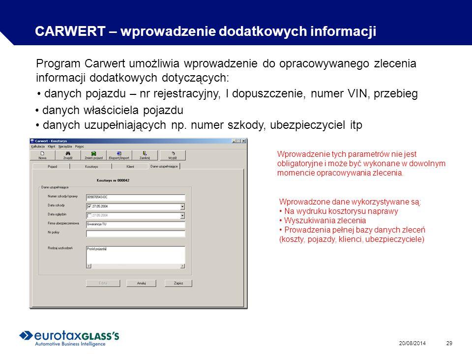 CARWERT – wprowadzenie dodatkowych informacji