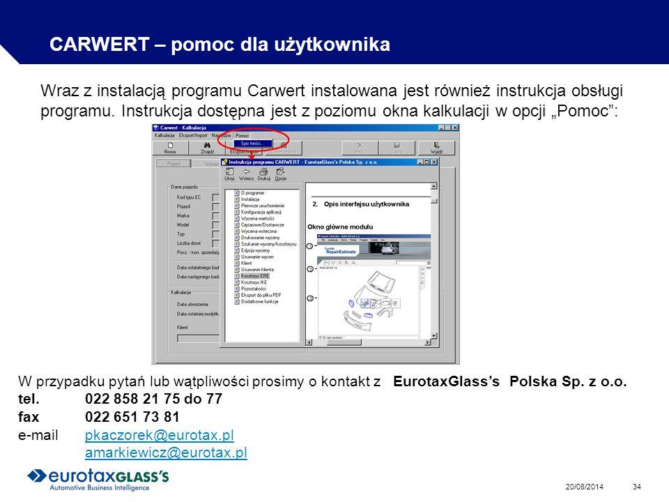 CARWERT – pomoc dla użytkownika