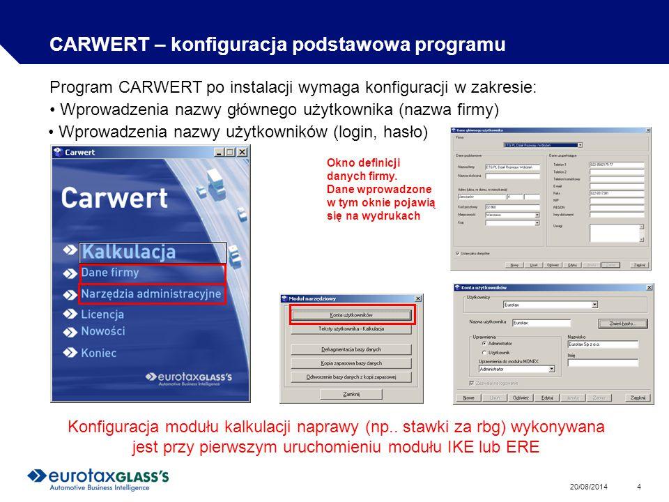 CARWERT – konfiguracja podstawowa programu