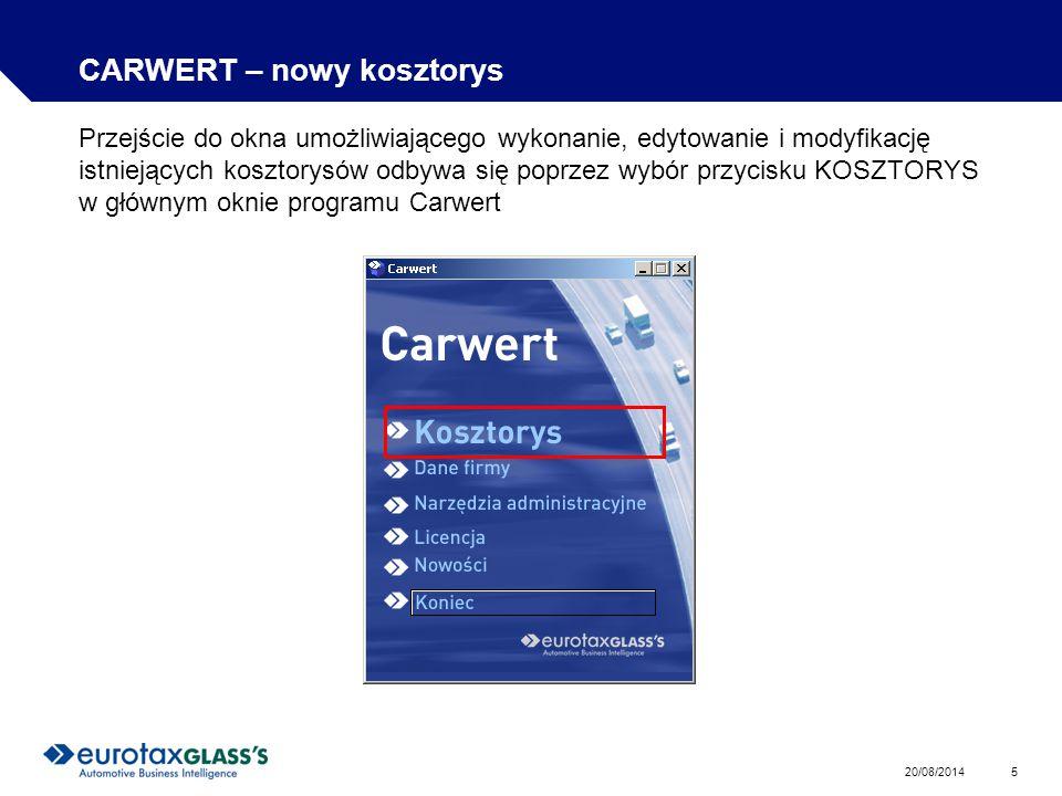 CARWERT – nowy kosztorys
