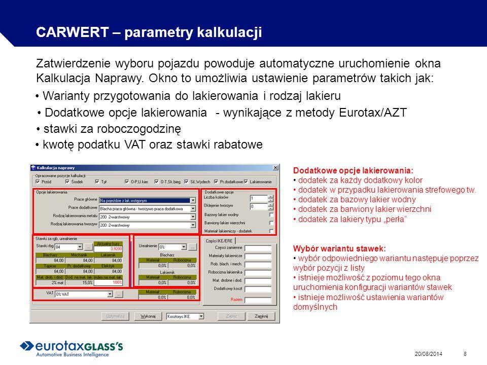 CARWERT – parametry kalkulacji
