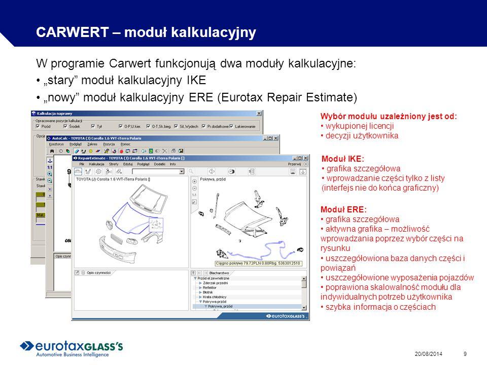 CARWERT – moduł kalkulacyjny