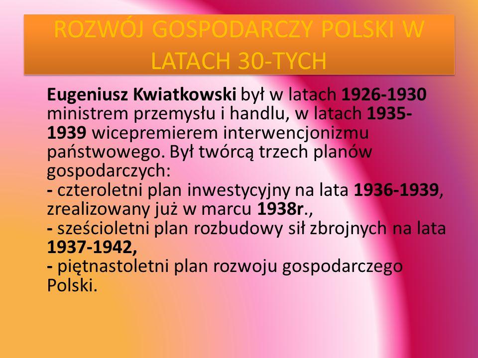 ROZWÓJ GOSPODARCZY POLSKI W LATACH 30-TYCH