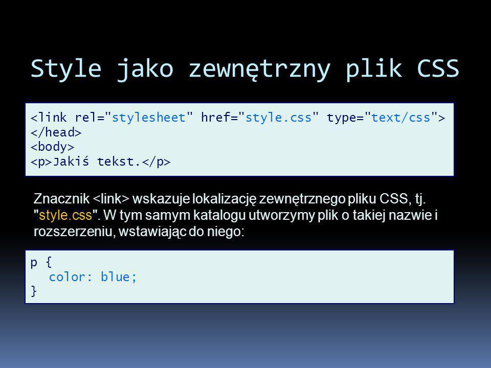 Style jako zewnętrzny plik CSS