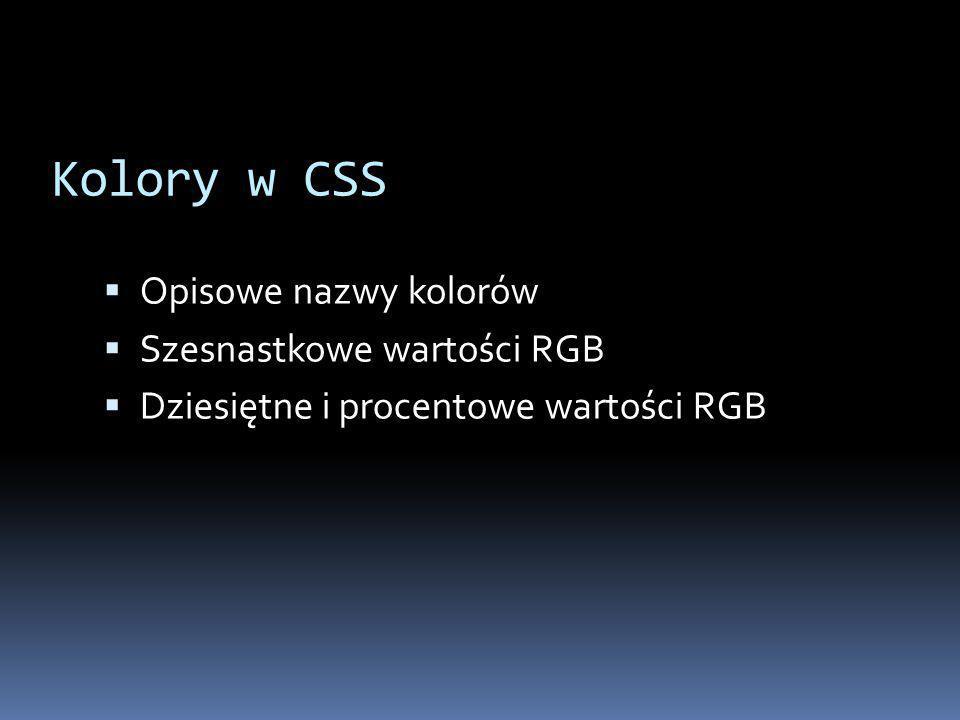 Kolory w CSS Opisowe nazwy kolorów Szesnastkowe wartości RGB
