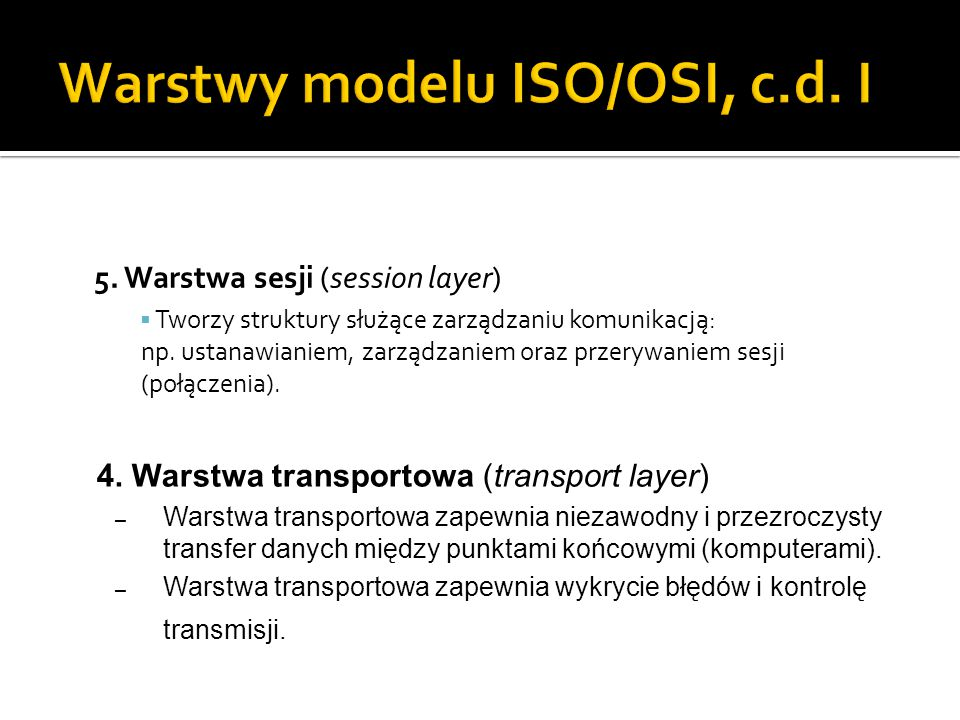 Warstwy modelu ISO/OSI, c.d. I
