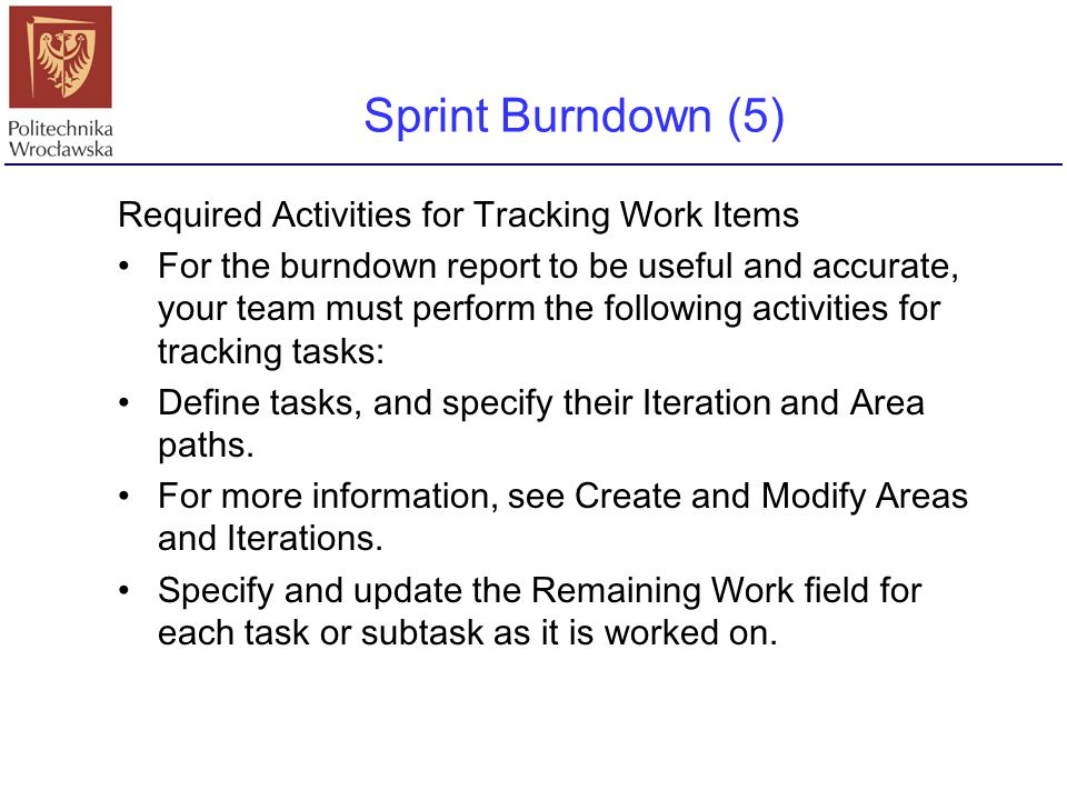 Sprint Burndown (5) Required Activities for Tracking Work Items