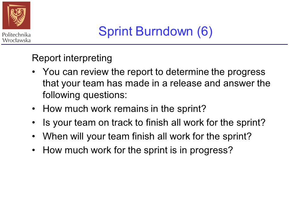Sprint Burndown (6) Report interpreting