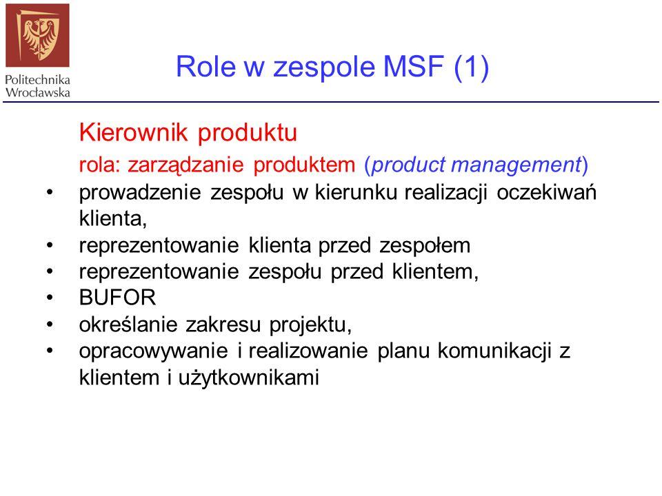 Role w zespole MSF (1) Kierownik produktu