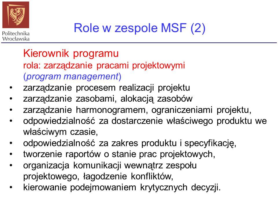 Role w zespole MSF (2) Kierownik programu
