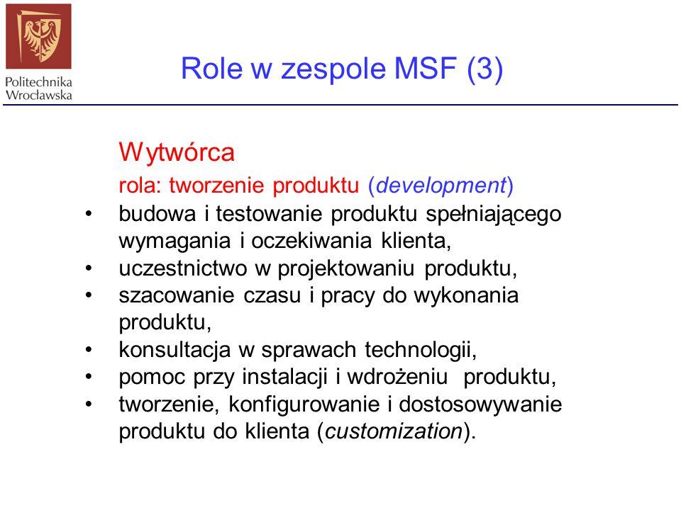 Role w zespole MSF (3) Wytwórca rola: tworzenie produktu (development)