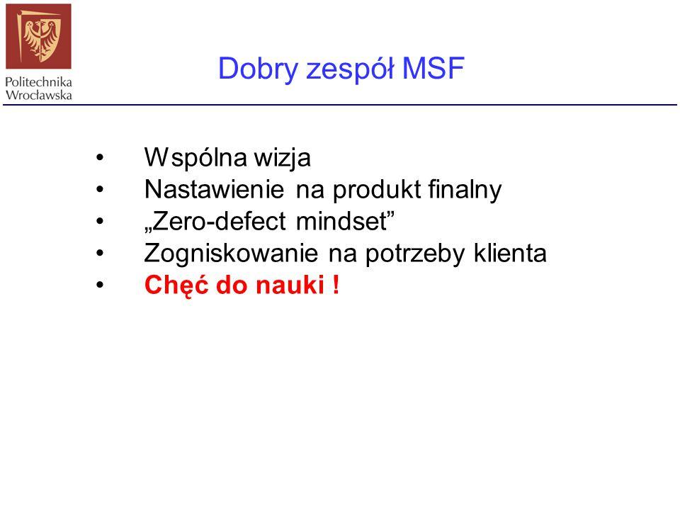 Dobry zespół MSF Wspólna wizja Nastawienie na produkt finalny