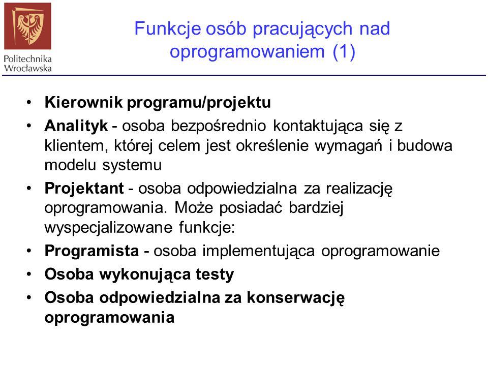 Funkcje osób pracujących nad oprogramowaniem (1)