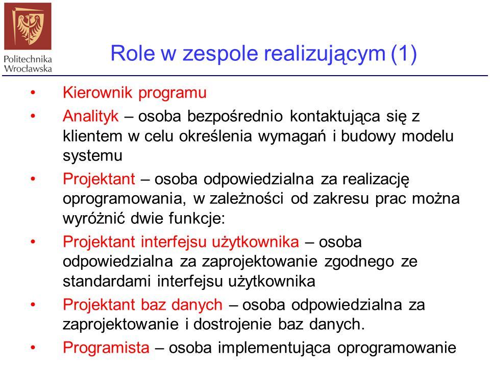 Role w zespole realizującym (1)