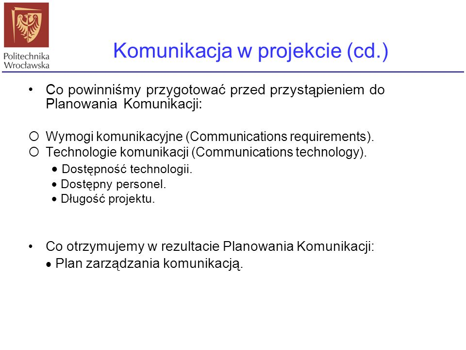 Komunikacja w projekcie (cd.)