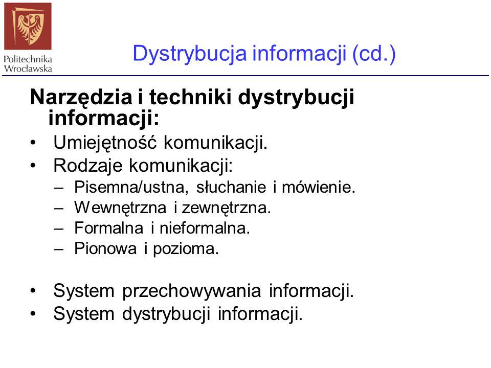 Dystrybucja informacji (cd.)