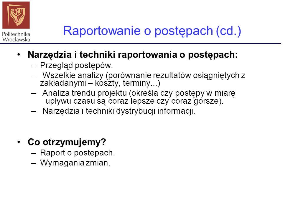 Raportowanie o postępach (cd.)