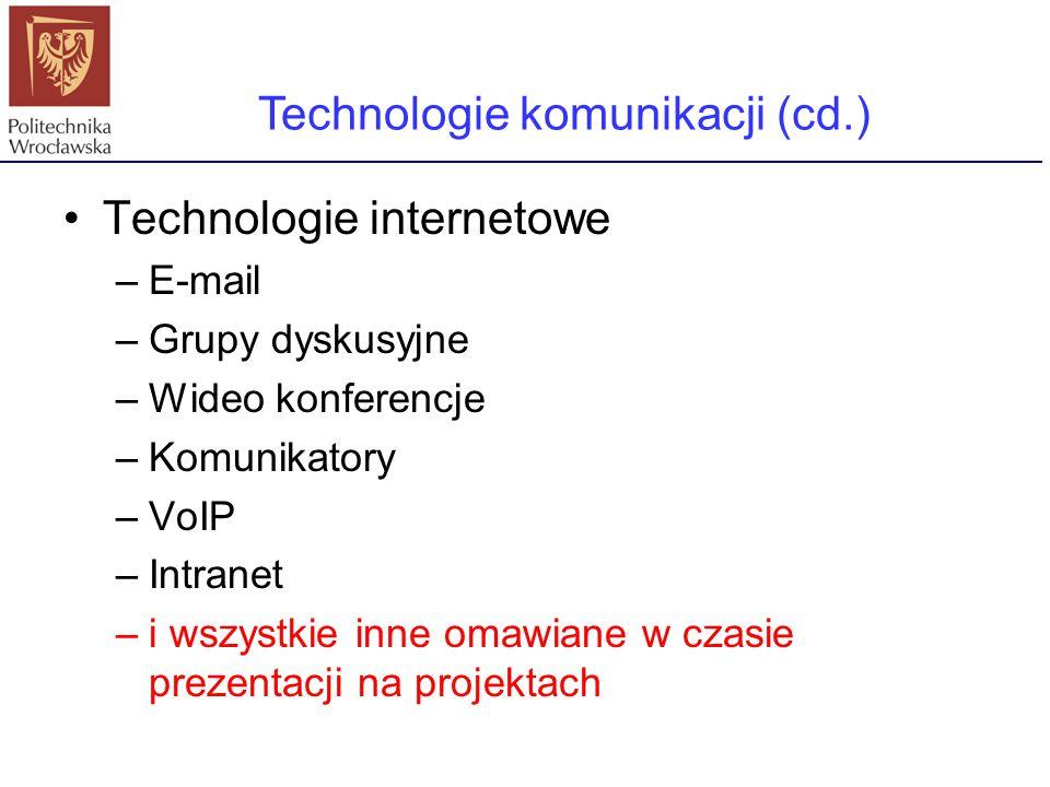 Technologie komunikacji (cd.)