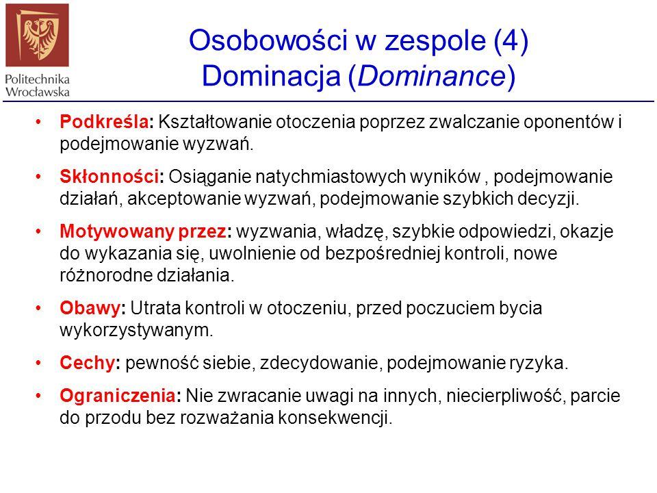 Osobowości w zespole (4) Dominacja (Dominance)