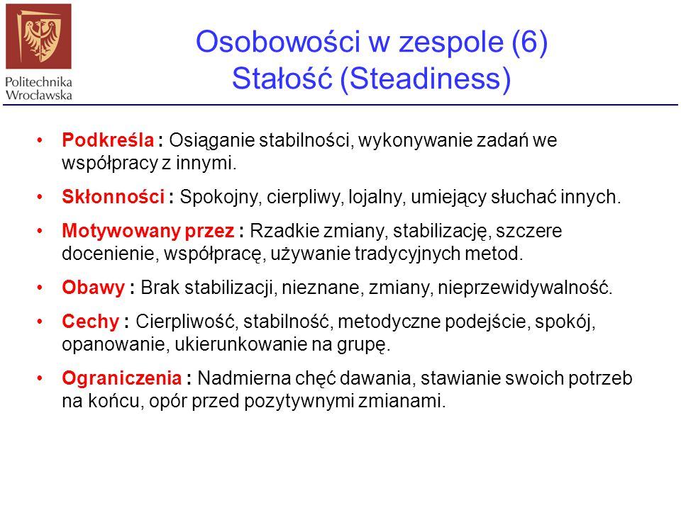 Osobowości w zespole (6) Stałość (Steadiness)