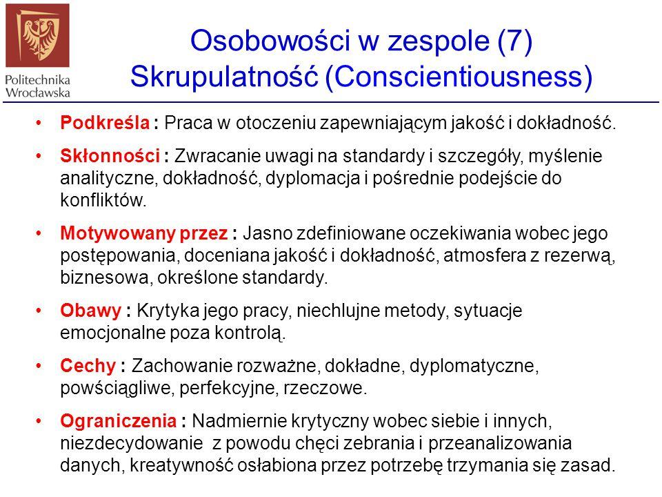 Osobowości w zespole (7) Skrupulatność (Conscientiousness)