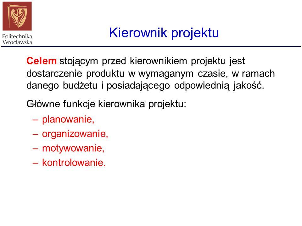 Główne funkcje kierownika projektu: