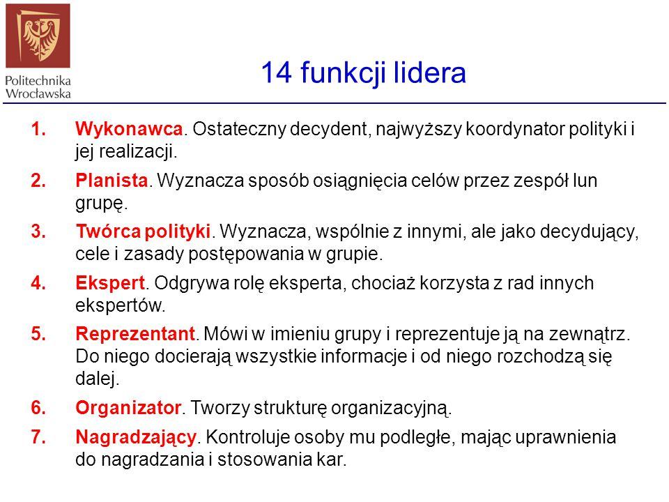 14 funkcji lidera Wykonawca. Ostateczny decydent, najwyższy koordynator polityki i jej realizacji.