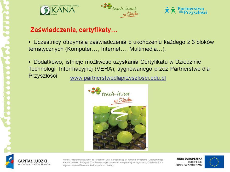 Zaświadczenia, certyfikaty…