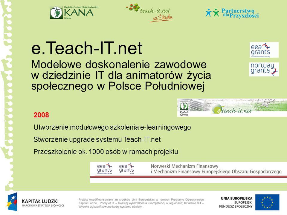 e.Teach-IT.net Modelowe doskonalenie zawodowe w dziedzinie IT dla animatorów życia społecznego w Polsce Południowej.