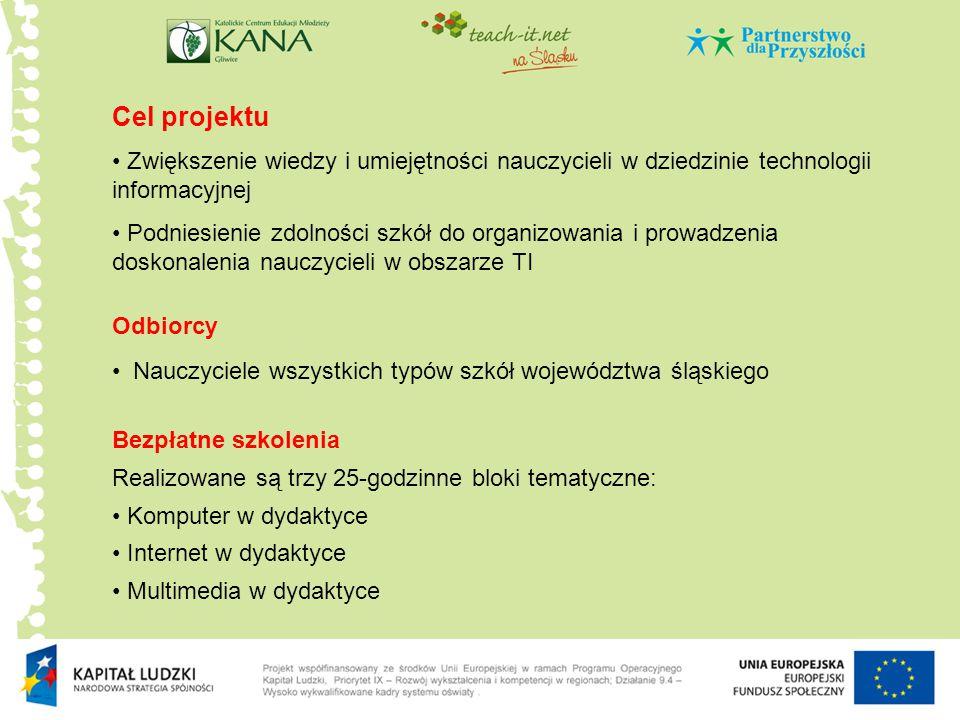 Cel projektu Zwiększenie wiedzy i umiejętności nauczycieli w dziedzinie technologii informacyjnej.