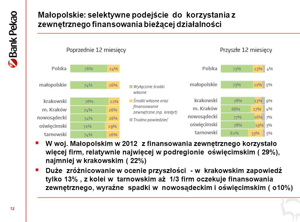 Małopolskie: Inwestycje mikro i małych przedsiębiorstw wykazują tendencję spadkową