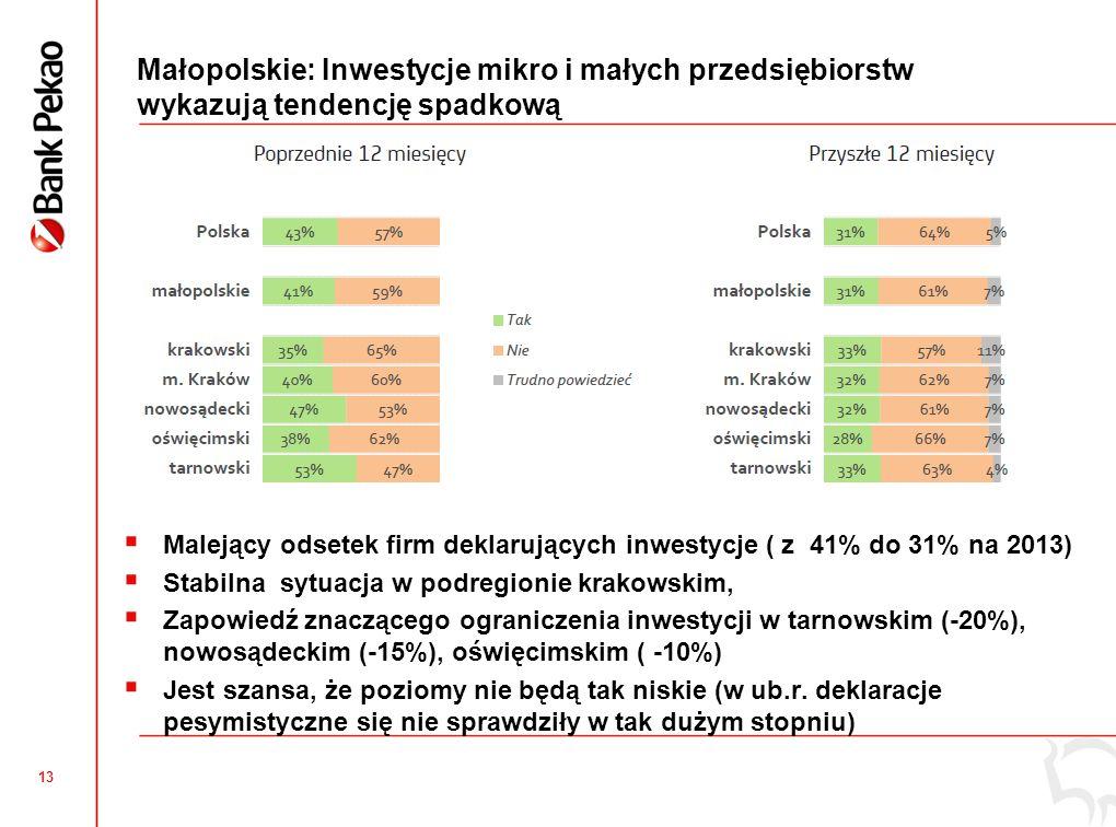 Małopolskie: Większa dywersyfikacja źródeł finansowania inwestycji w roku 2013 roku