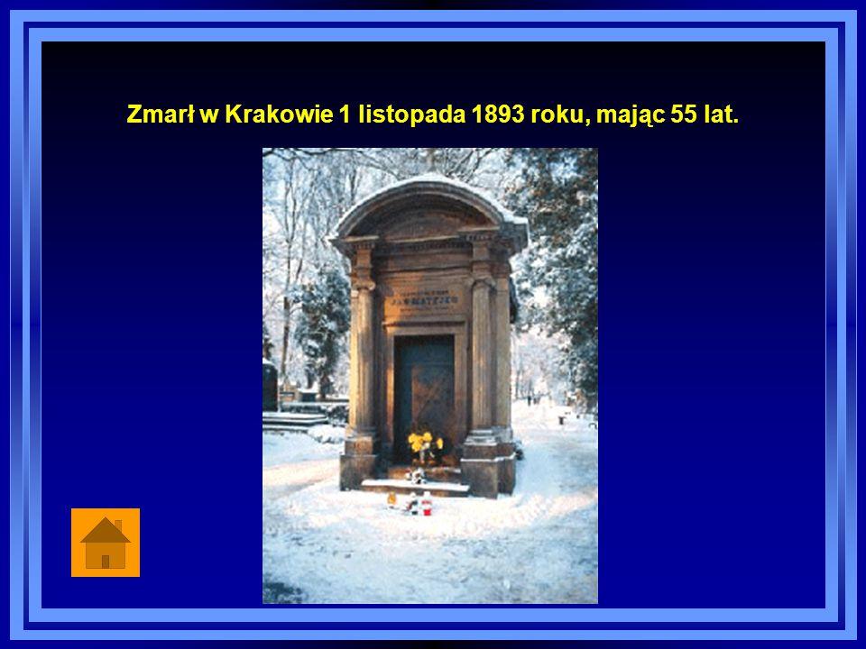 Zmarł w Krakowie 1 listopada 1893 roku, mając 55 lat.
