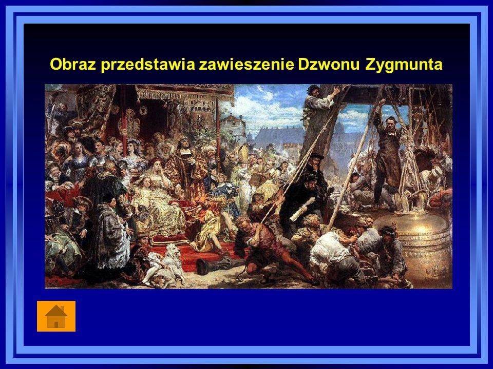Obraz przedstawia zawieszenie Dzwonu Zygmunta