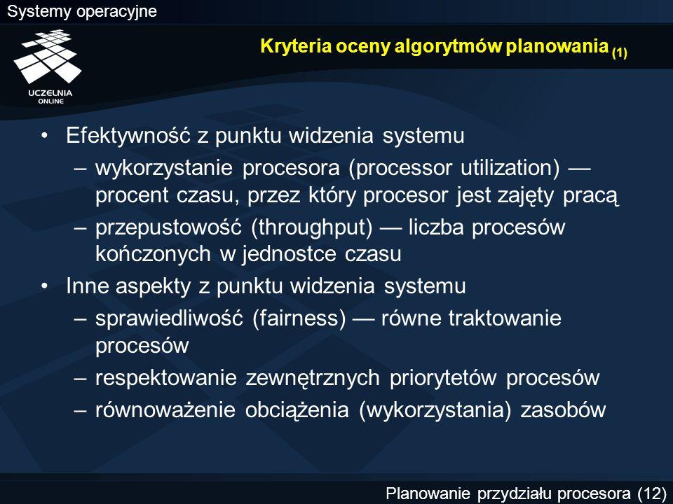 Kryteria oceny algorytmów planowania (1)