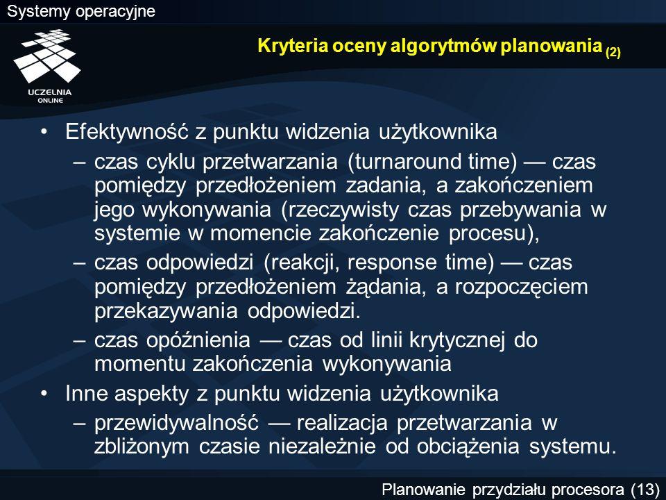 Kryteria oceny algorytmów planowania (2)