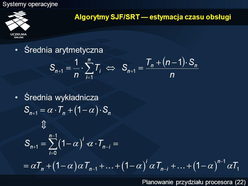 Algorytmy SJF/SRT — estymacja czasu obsługi