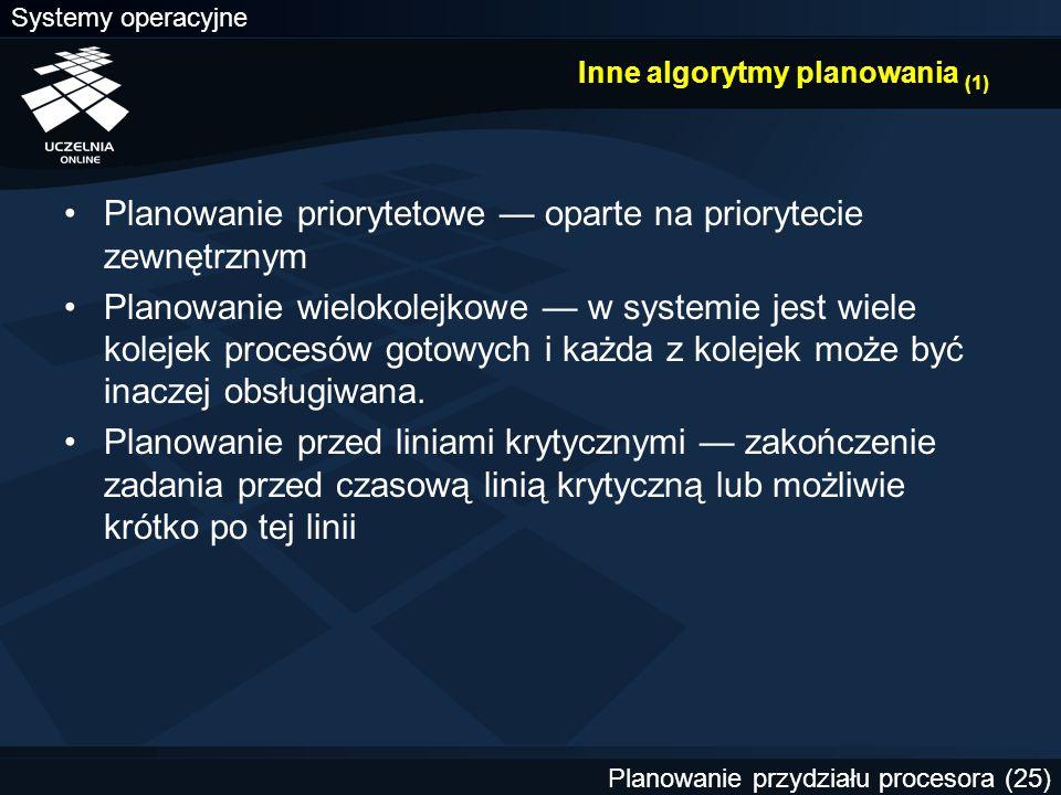 Inne algorytmy planowania (1)